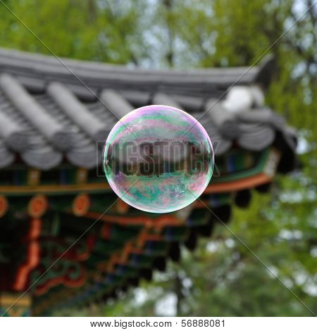 Bubble In Front Of Roof Of Oriental Arbor