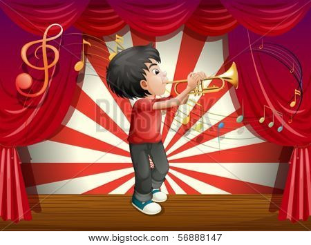 Illustration of a stage with a male musician