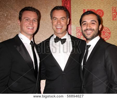 vLOS ANGELES - JAN 12:  Jonathan Groff, Murray Bartlett, Frankie J. Alvarez at the HBO 2014 Golden Globe Party  at Beverly Hilton Hotel on January 12, 2014 in Beverly Hills, CA