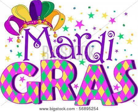 Mardi Gras type treatment with jester hat. Raster version