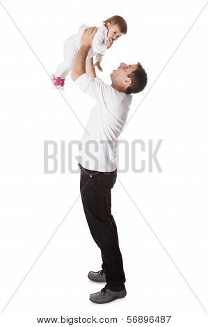 Father Holding Small Baby Aloft