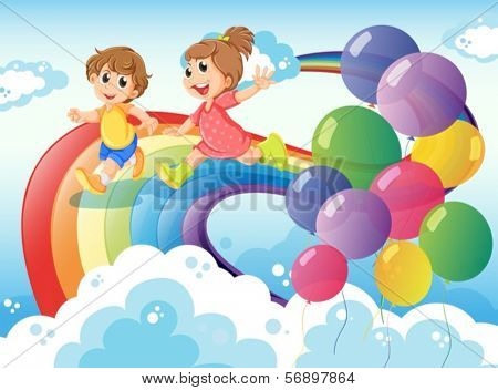 Illustration of the kids playing with the rainbow in the sky