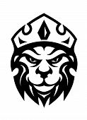 Head of a fierce crowned lion depicting royalty in a black and white design suitable for heraldry poster