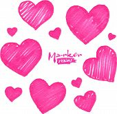 Pink marker stains vector textured hearts set poster