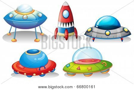 Illustration of the flying saucers and a rocket on a white background