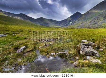 Mountain landscape shot during rainy weather. Macgillycuddy's Reeks Iveragh Peninsula Ireland poster