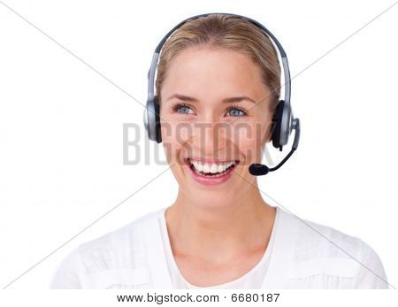 Sparkling Busineswoman Talking On A Headset