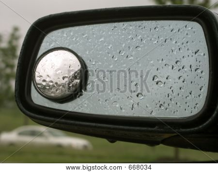 Car Mirror With Raindrops 20