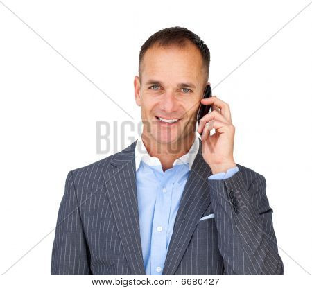 Assertive Businessman Using A Mobile Phone
