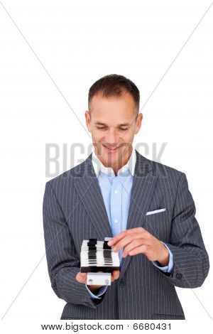 Attractive Businessman Searching For The Index