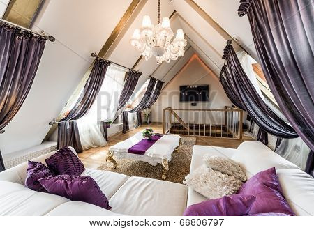 Interior Of Fashionable Living Room In The Attic