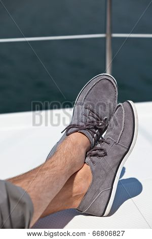 A Pair Of Hairy Man Legs In Topsiders
