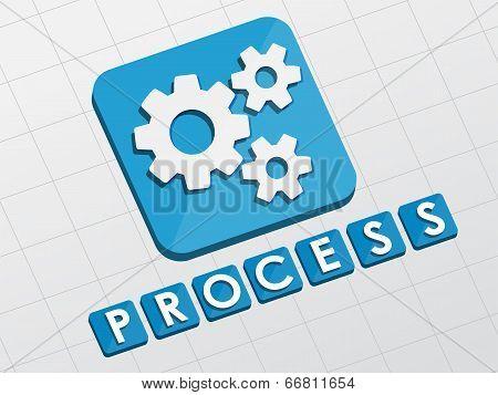 Process And Gear Wheels Symbol, Flat Design Web Icon