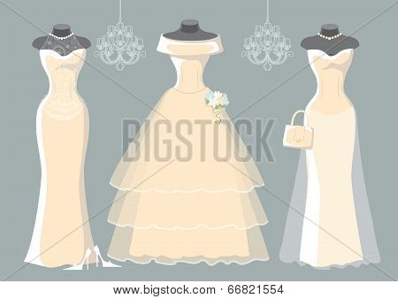 Set Of Three Wedding Long Dresses