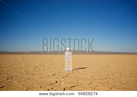 Water Bottle In Center Of Desert