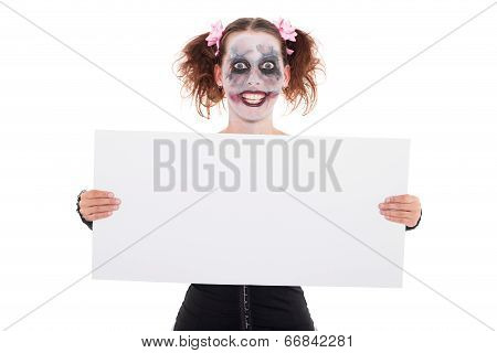 Insane Smiling Female Clown With Sign