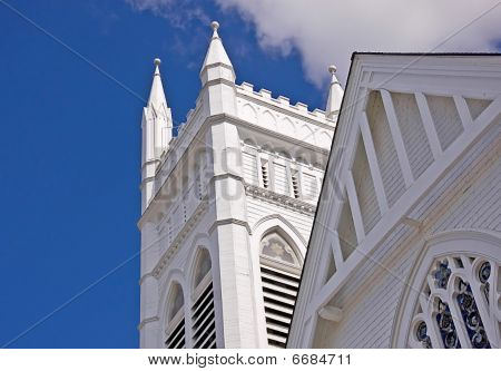 Church Steeple Against Blue Sky
