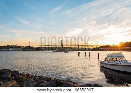 Angus L. Macdonald Bridge At Sunset
