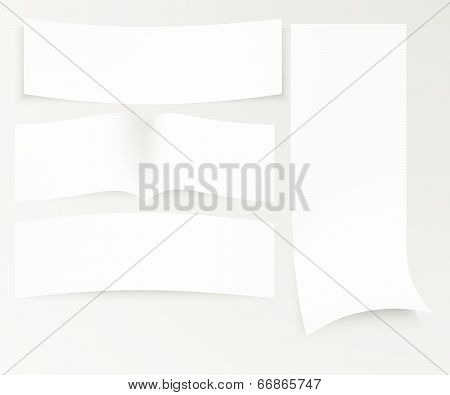 Blank advertisement with cut slips. white background