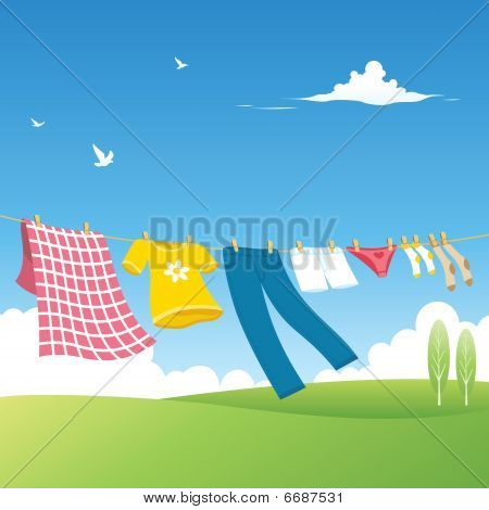 In the garden variety of freshly washed clothes hanging on the ropes poster