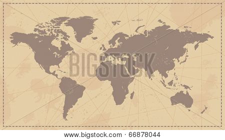 World Map Vintage Illustration - Vector background with removable texture
