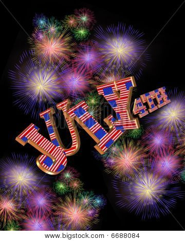 July 4Th Fireworks 3D text