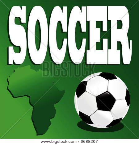 soccer ball on green background and inscription poster