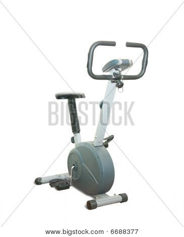 Stationary Bicycle Over White Background