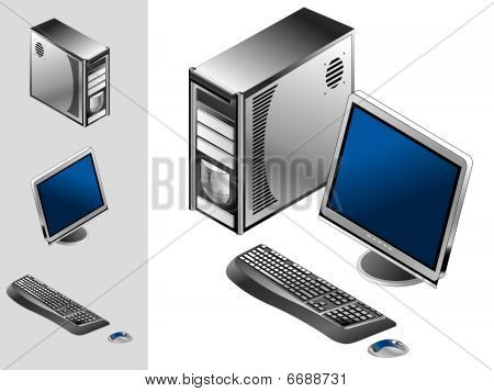Computer with case, keyboard, mouse and monitor