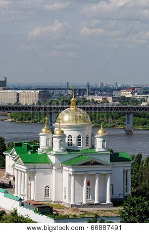 The temple of the Prelate Alexy Moskovsky in Nizhny Novgorod. Sunny day with a set of clouds in the