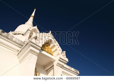 Thai temple with blue sky