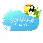 Summer Banner Blot With Flowers, Vector Illustration poster