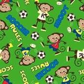 Soccer rules monkey seamless pattern on a green background. poster