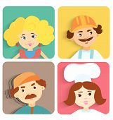 Flat design illustration of cartoon people. Set of square avatars isolated on white. Info graphic elements ...... poster