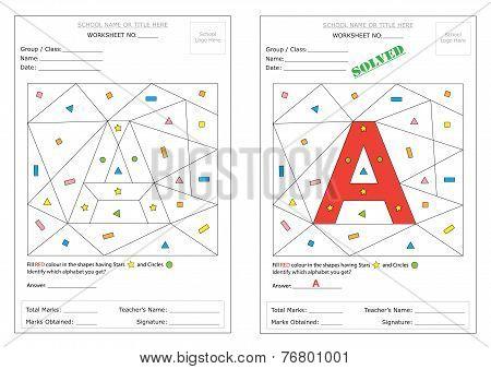 Worksheet: Fill Colour & Identify Alphabet
