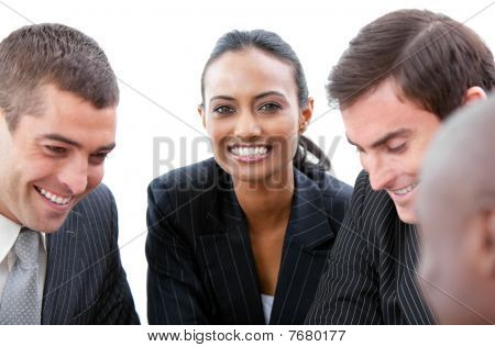Beautiful Businesswoman Smiling At The Camera In A Meeting