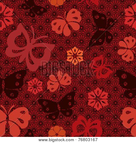 Japanese butterfly and flowers seamless pattern