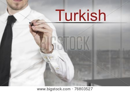 businessman in office writing turkish in the air poster
