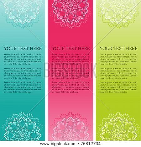 Colorful Indian henna mandala vertical banners