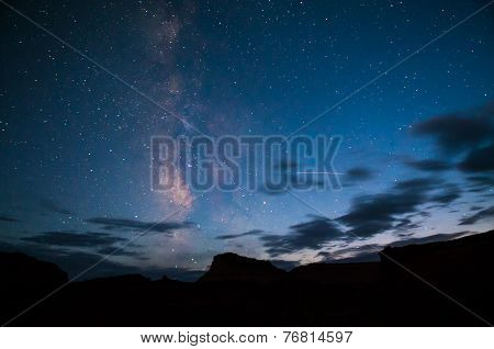 Bright Starry Night With A Milky Way Over The Canyon