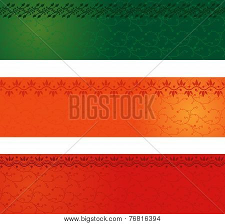 Colorful Indian henna horizontal banners