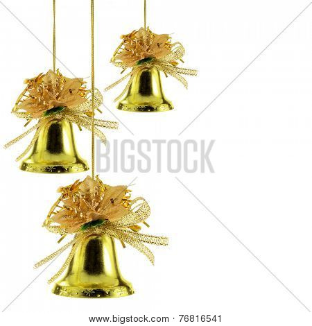 Gold Christmas bells isolated over white background