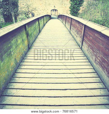 Old wood bridge in Dinkelsbuhl, Bavaria. Retro style filtred