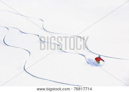 Skiing, Skier, Freeski - freeride, man skiing downhill