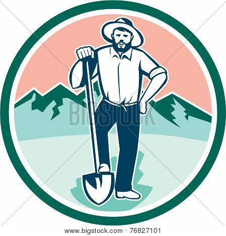 Gold Miner With Shovel Circle Retro