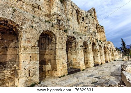 wall of ancient theater of Herodes Atticus Odeon, Athens, Greece poster