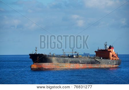 Rusty ship on the ocean