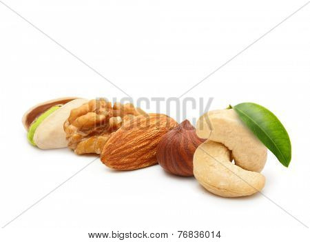 Walnut, almond, pistachio, cashew nut, and hazelnut isolated on white background.