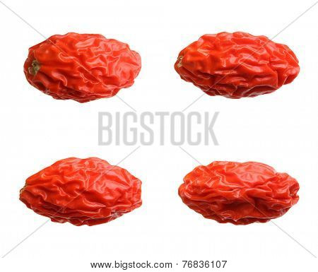 Dried goji berry isolated on white background.