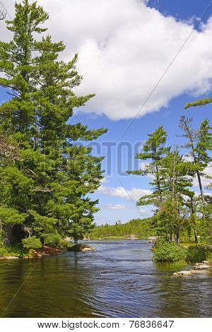 Narrow Channel In The North Woods